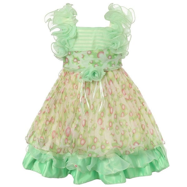 5a544f9dda37 Shop Richie House Little Girls Bright Green Patterned Flower Ruffle Chiffon  Dress 2-6 - Free Shipping On Orders Over $45 - Overstock - 18224475