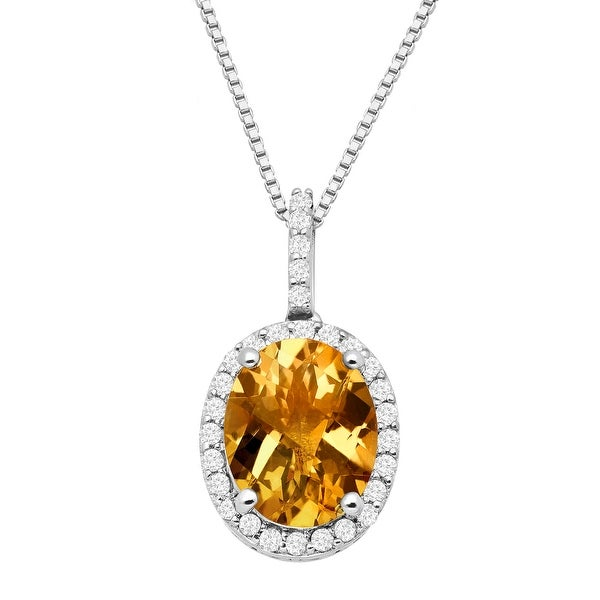 2 1/2 ct Natural Citrine & White Topaz Pendant in Sterling Silver - Yellow
