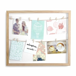 """Umbra 310080  Clothesline 20-5/8"""" x 17-1/2"""" MDF Wall Mounted Picture Frame - Walnut"""
