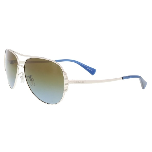 e4ee832c84ad Shop Coach HC7067 90781F Silver/Blue Aviator Sunglasses - 59-14-140 ...