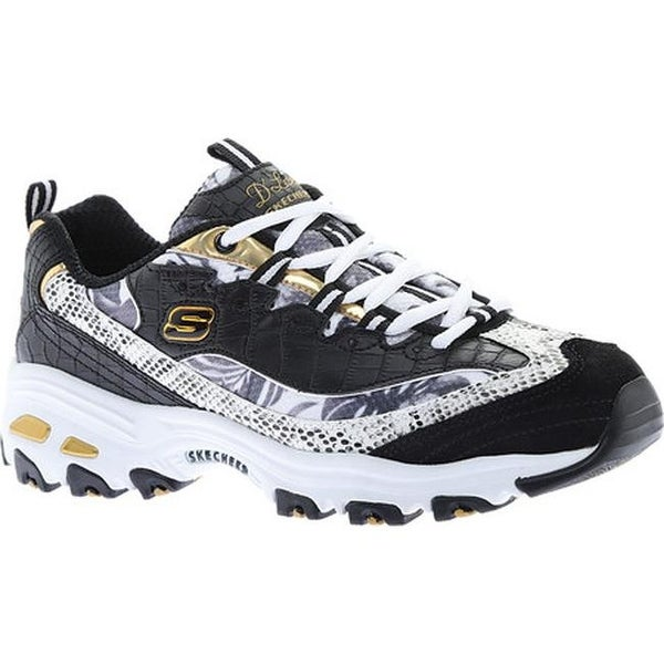 097539a5655 Shop Skechers Women s D Lites Runway Ready Sneaker Black White Gold ...