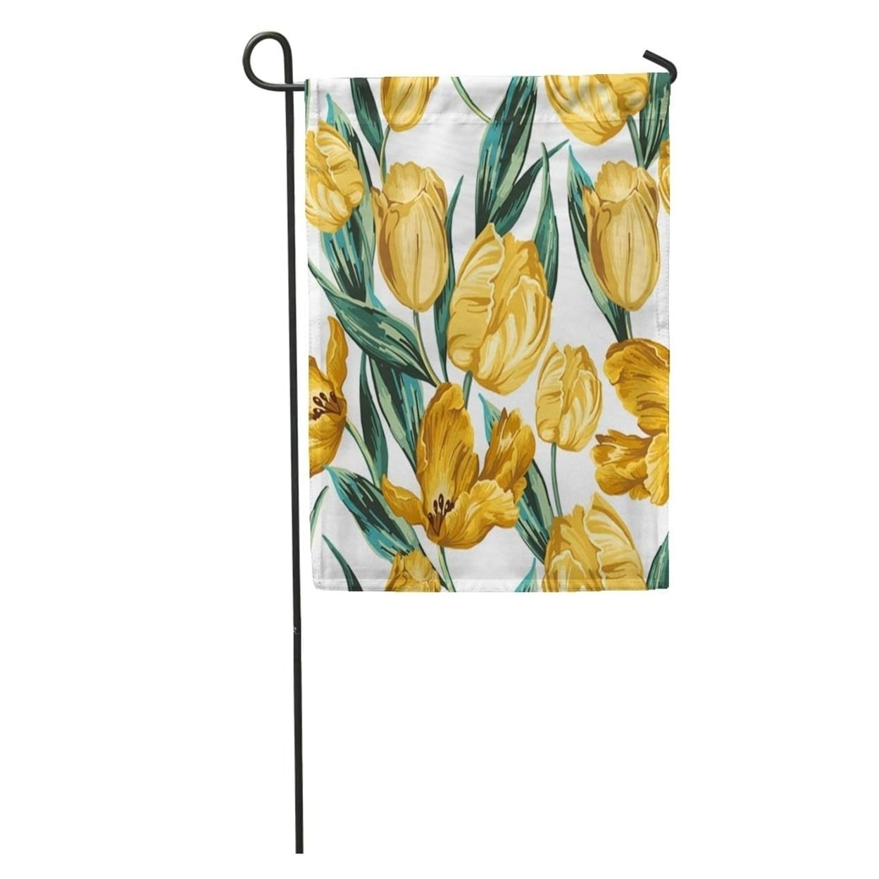 Green Flower Of Yellow Tulips On Pattern Floral Vintage Garden Garden Flag Decorative Flag House Banner 28x40 Inch On Sale Overstock 31325354