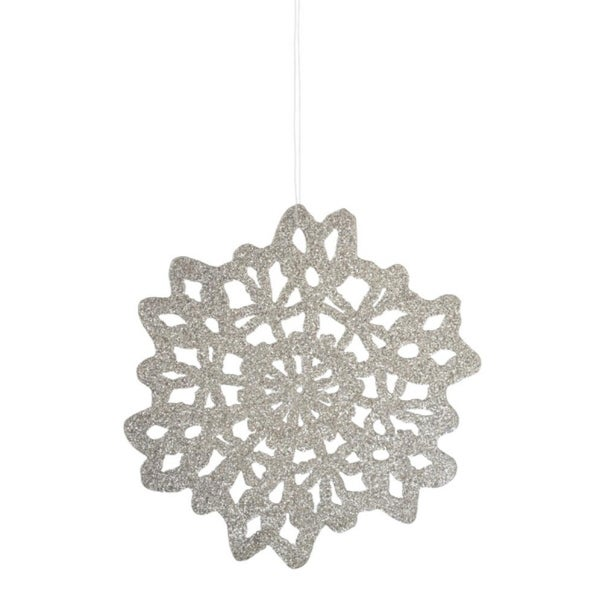 "4.25"" Silent Luxury White Glittered Snowflake Christmas Ornament"