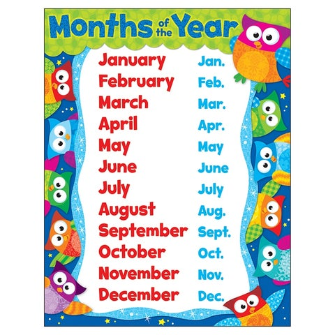 Owl Months Of The Year Learning