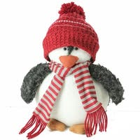 "9"" Plush Christmas Penguin in Striped Scarf and Red Knit Beanie Hat"