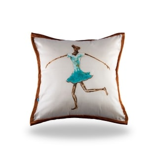 100% Handmade Imported The Dancing Girl Pillow Cover, Shades of Aqua Marine and Brown on Ecru, Trim Brown