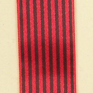 "Red and Black Striped Satin Craft Ribbon 1.5"" x 108 Yards"