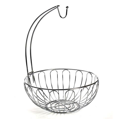 Home District Wire Fruit Basket with Banana Hanger - Countertop Food Storage Bowl with Hook - 12 in. x 12 in. x 13 in.