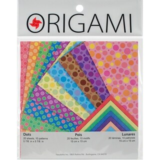 "Fold 'Ems Origami 2-Sided Paper 5.875"" 20/Pkg-Dots/Solid Pearlescent"