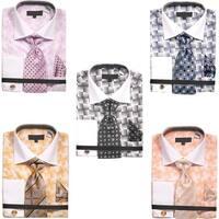 Men's Basket Weave Pattern Dress Shirt with Tie Handkerchief Cufflinks Set