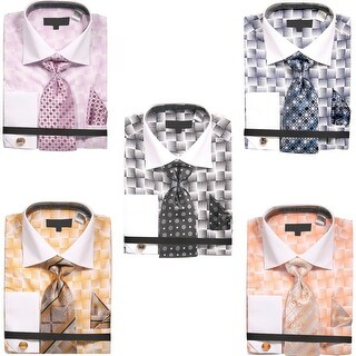 Men's Basket Weave Pattern Dress Shirt with Tie Handkerchief Cufflinks Set