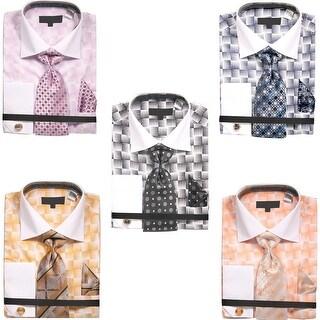 Men's Basket Weave Pattern Dress Shirt with Tie Handkerchief Cufflinks Set (More options available)