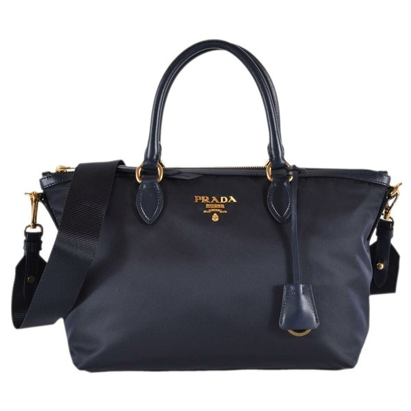 43efff7f0d70 Shop Prada 1BA104 Borsa A Mano Blue Nylon 2-Way Zip Purse Handbag ...