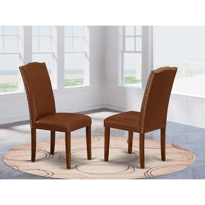East West Furniture Encinal Parson Chair with Mahogany Leg and Brown Faux Leather, Set of 2 - ENP3T66