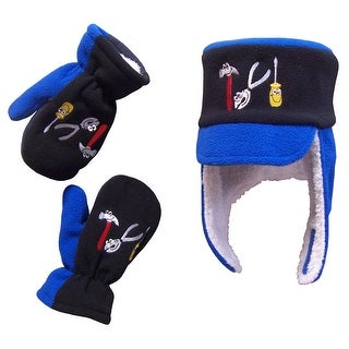 NICE CAPS Boys Sherpa Lined Fleece Little Mechanic Embroidered Hat And Mittens Set