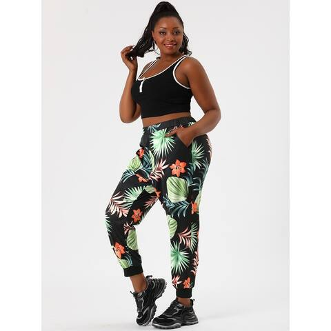 Women's Plus Size Elastic Waist Pockets Floral Jogger Pants
