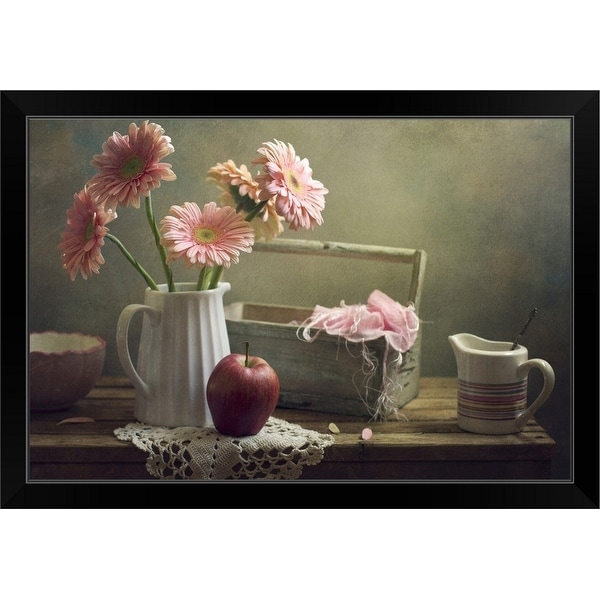 """""""Still life with pink gerberas and red apple on table."""" Black Framed Print"""