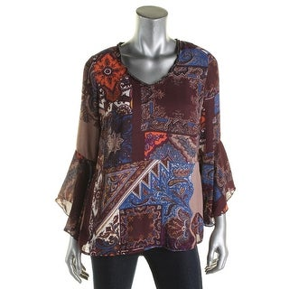 NY Collection Womens Blouse Embellished Neckline Printed