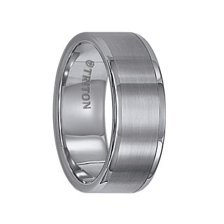 FAIRFAX Flat Tungsten Carbide Wedding Band with Satin Finish and Bright Polished Round Edges by Triton Rings - 8mm