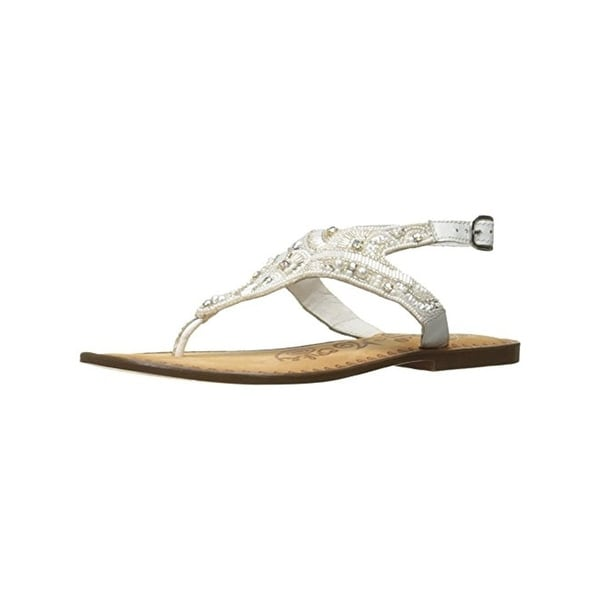 Naughty Monkey Womens Adeley Flat Sandals Beaded Thong