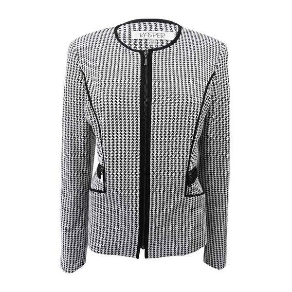 558f3a86d Shop Kasper Women s Petite Houndstooth Knit Jacket (4P