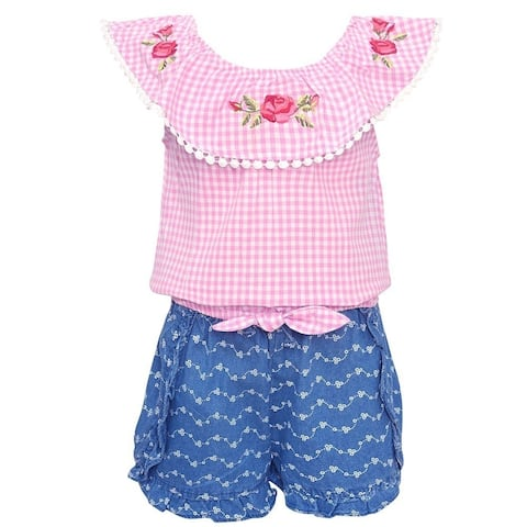 e925af6d1 My Destiny Little Girls Pink Checkered Rose Embroidery 2 Pc Shorts Outfit