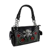 Rhinestone Skull & Roses Embroidered Sequined Concealed Carry Handbag
