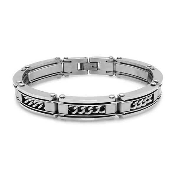 Stainless Steel High Polish/Satin Finish Link Bracelet w/ Curb Chain Inlay - 8 inches