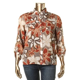 Alfred Dunner Womens Petites Button-Down Top Metallic Floral Print Brown 16P