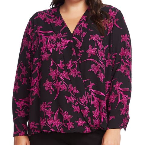 Vince Camuto Women's Blouse Deep Black Size 2X Plus Floral Surplice