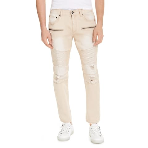 INC International Concepts Men's Ripped Skinny Jeans Beige Size 40
