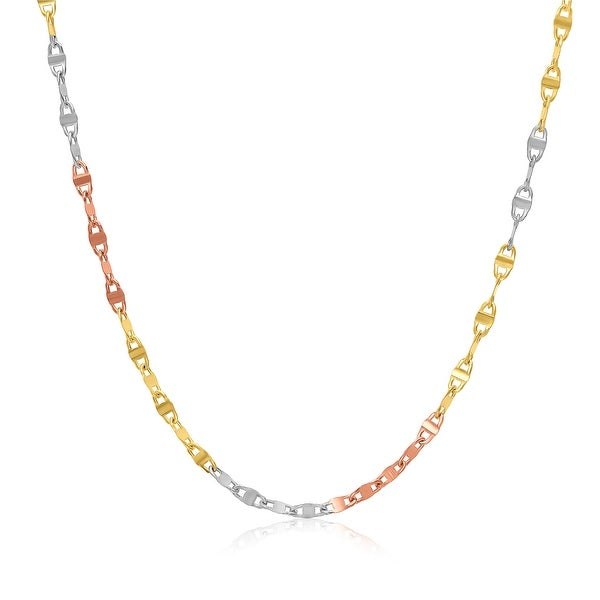 Mcs Jewelry Inc 14 KARAT THREE TONE, YELLOW GOLD, WHITE GOLD, ROSE GOLD MARINER CHAIN NECKLACE (1.8mm) - Multi