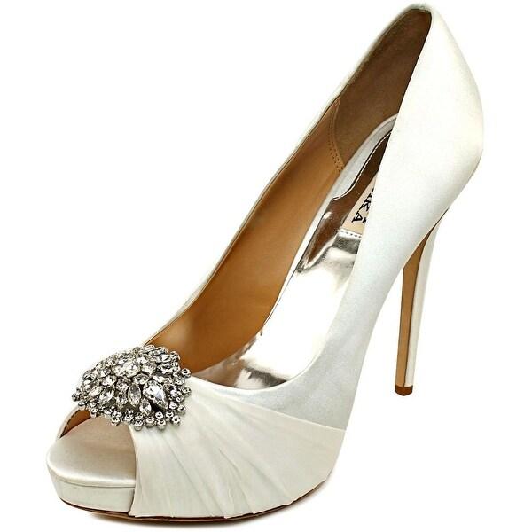 Badgley Mischka Pettal Women Open Toe Canvas White Platform Heel