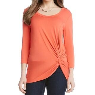 Karen Kane NEW Coral Orange Women's Size XL Ruched Front Blouse