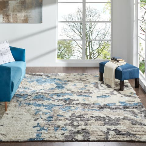Abstract Shag Blue/White Area Rug