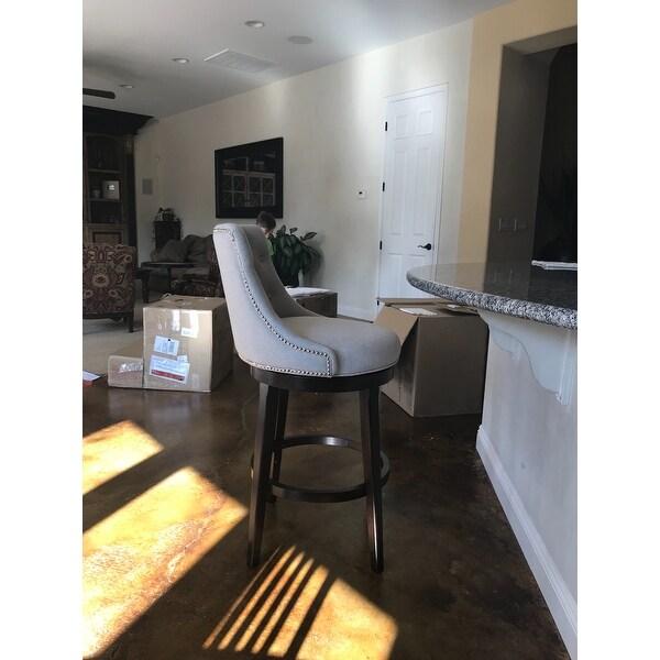 Beautiful Hillsdale Furniture Halbrooke Tufted Smoke Fabric Swivel Bar Stool   Free  Shipping Today   Overstock   20690336
