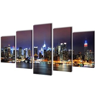 "vidaXL Canvas Wall Print Set Colorful New York Skyline 39"" x 20"""