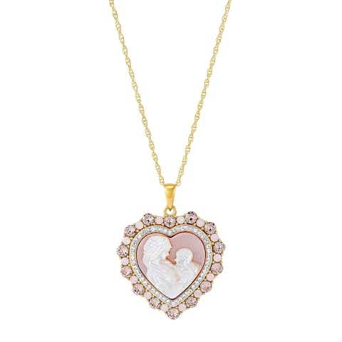 Mom & Child Cameo Heart Pendant in 18K Gold-Plated Sterling Silver, 18 Inches - Pink