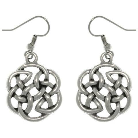 Pewter Celtic Shield of Destiny Drop Earrings - White