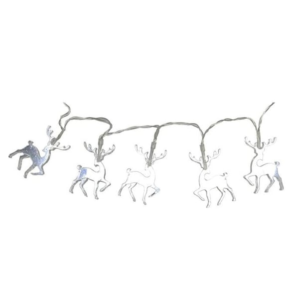 set of 10 battery operated led reindeer christmas lights clear wire