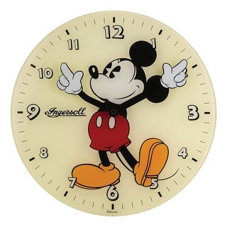 Retro Mickey Mouse Glass Wall Clock - Disney Ingersoll Watch Artwork