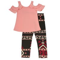 Little Girls Blush Pink Cold Shoulder 2 Pc Pants Outfit