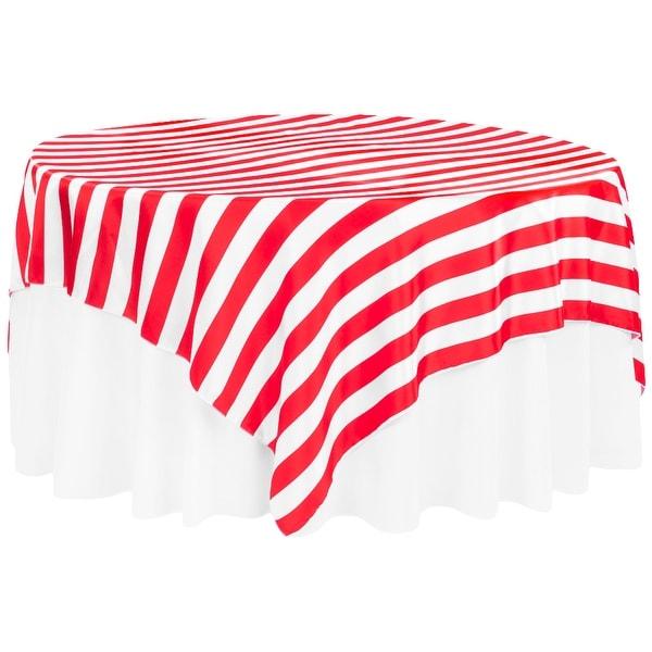 "Stripe 90""x90"" Square Satin Table Overlay Edge: Serge - Red & White"