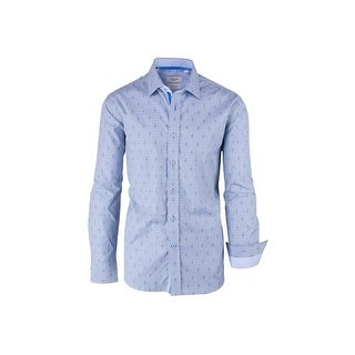 CLEARANCE Light Blue and Gray Check Pattern, Modern Fit, Long Sleeve Sport Shirt by Tiglio Sport SP9023