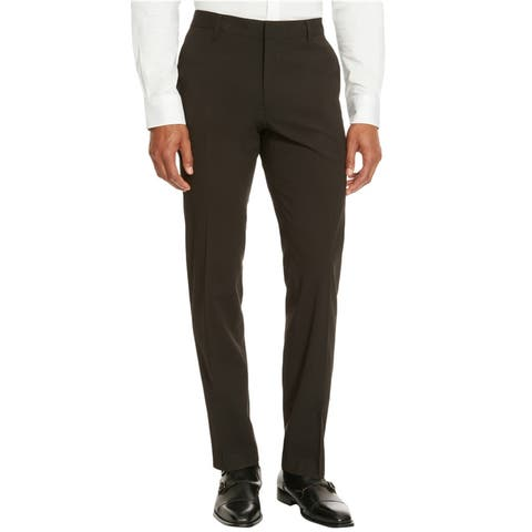Kenneth Cole Mens Solid Slim Fit Casual Trouser Pants