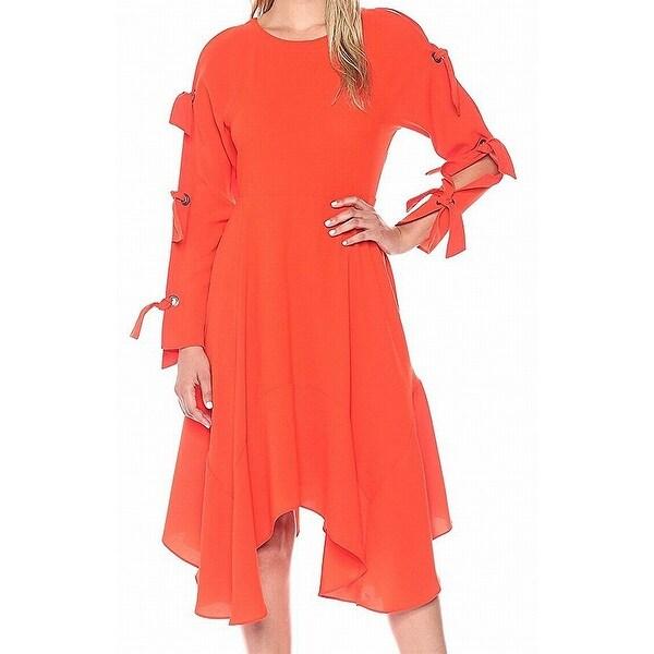 BCBG Maxazria Womens Tie-Sleeve Woven Sheath Dress