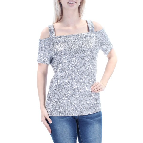 Womens Gray Short Sleeve Square Neck Party Top Size S