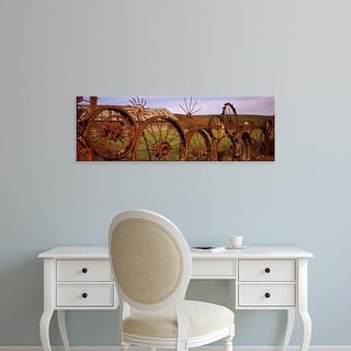 Easy Art Prints Panoramic Image 'Old barn with fence made of wheels, Palouse, Whitman, Washington' Canvas Art