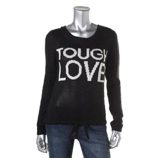 Almost Famous Womens Juniors Tough Love Pullover Sweater Slogan Drawstring Waist