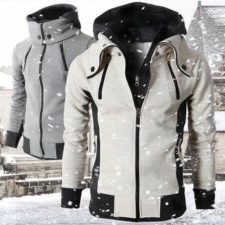 Fashion Men's High-necked Hooded Sport Casual Sweatshirt Jacket Hoodie Coat
